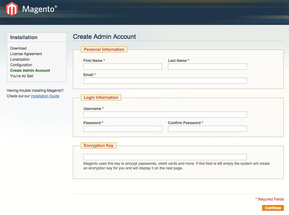 set up admin account