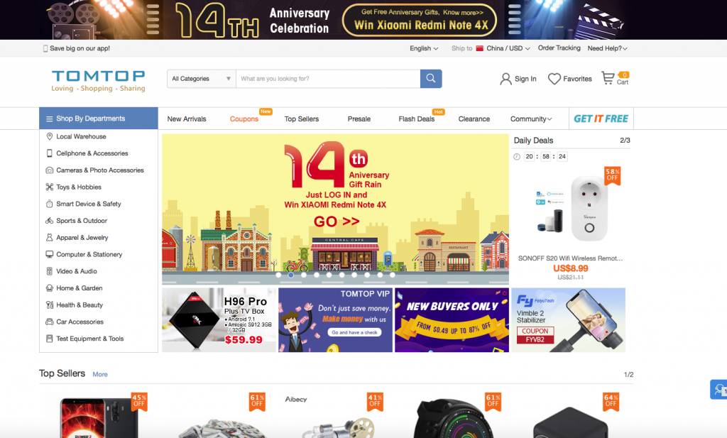 Cross-border eCommerce TomTop